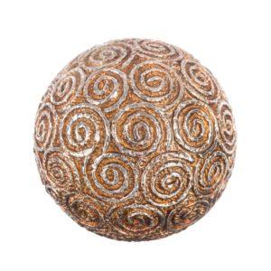 Bola decorativa resina espiral plata dorado