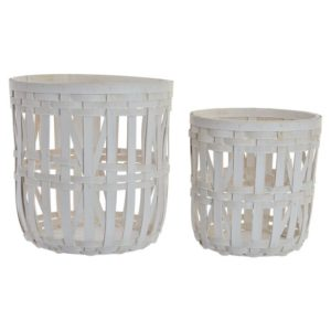 Cesta bambú trenzado blanco 2 tamaños