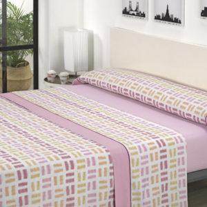 Juego de sábanas estampado rosa