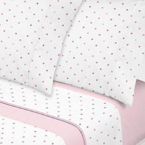Juego de sábanas estampado lunares rosa
