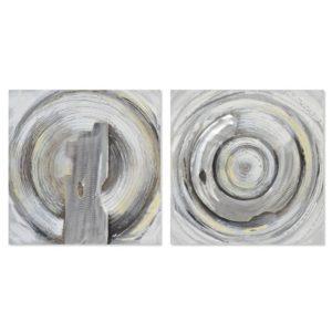 Set 2 Cuadros círculo plata contemporáneo