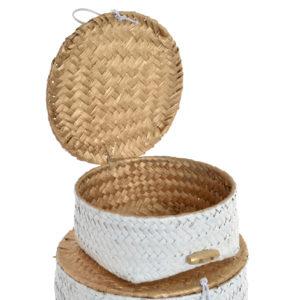 Cesta fibra redonda blanco y dorado 3 tamaños