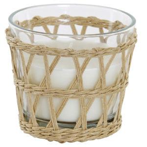 Vela blanca vaso cristal y cesta