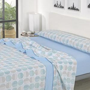 Juego de sábanas estampado azul