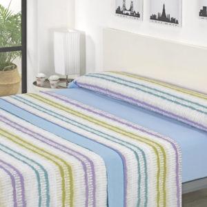 Juego de sábanas rayas azul