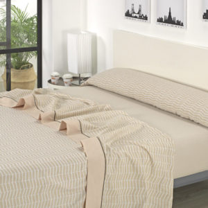 Juego de sábanas estampado beige
