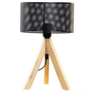 Lámpara de sobremesa trípode madera metal negro
