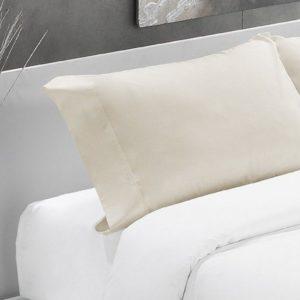 Beige-Funda almohada algodón 200 hilos
