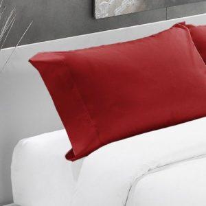 Rojo-Funda almohada algodón 200 hilos