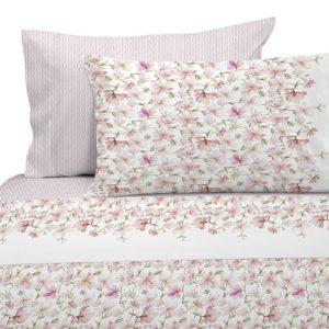 Juego de sábanas estampado floral rosa