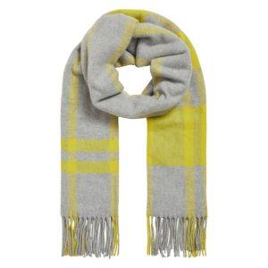 Bufanda cuadros amarillo gris