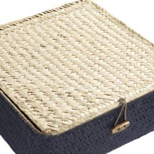 Cesta fibra cuadrada azul dorado 3 tamaños