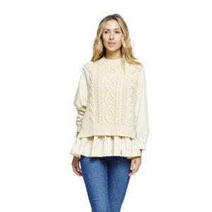 Camisa con chaleco crudo