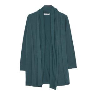 Chaqueta cuello bufanda azul verdoso