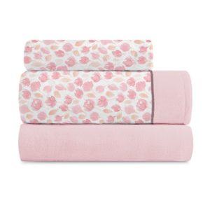 Juego de sábanas coralina floral rosa