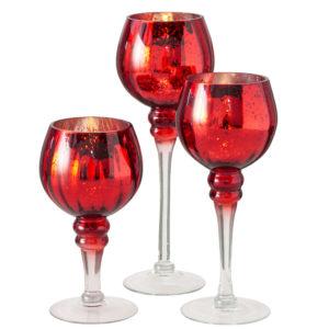 Portavela cristal rojo brillante envejecido