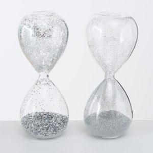 Relojes de arena purpurina plata