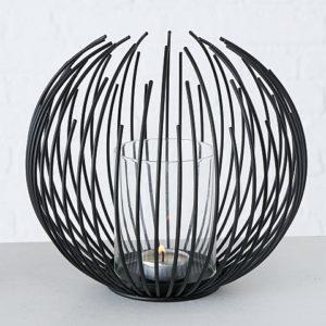 Farol filamentos esfera metal negro