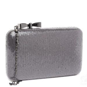Bolso tipo caja mini lentejuelas gris plata