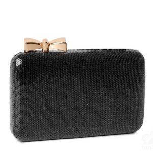 Bolso tipo caja mini lentejuelas negro
