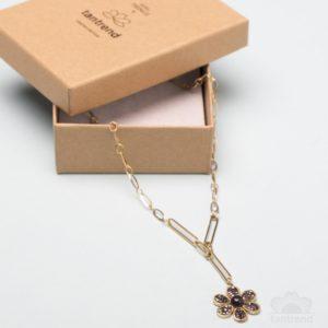 Collar eslabones dorados flor mini cristales