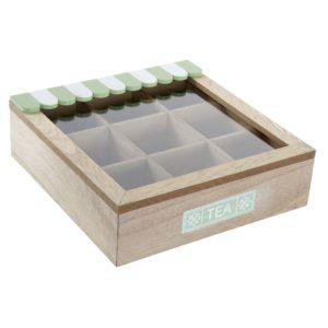 Caja infusiones madera verde y blanco
