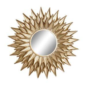 Espejo redondo metal sol dorado