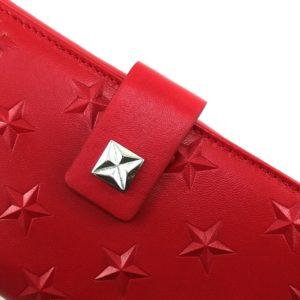 Cartera monedero de piel estrellas rojo