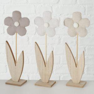 Figuras flor madera y tela