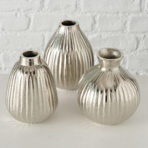 Floreros aluminio plata brillo mate