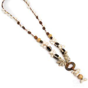 Collar largo conchas hueso natural marrón