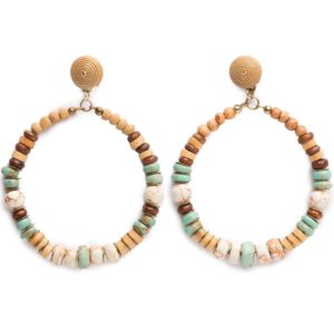 Pendiente largo aro madera piedras turquesa
