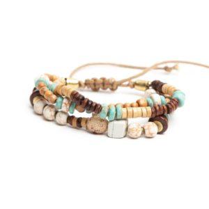 Pulsera cordón madera piedras turquesa