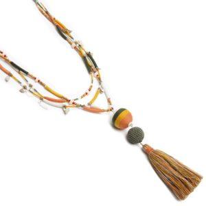 Collar largo tres líneas cordón bolas borla
