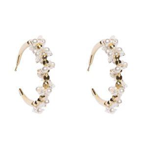Pendiente semi aro dorado perlas cristal