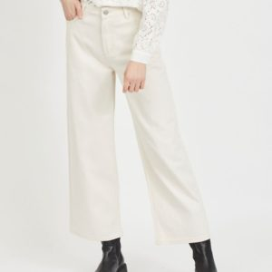 Jeans cropped talle alto beige