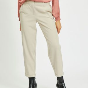 Pantalón cropped corte recto beige