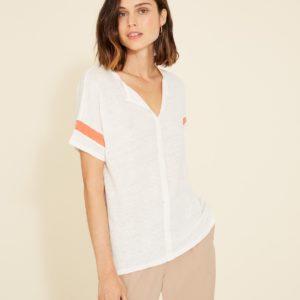 Camiseta lino raya contraste 2 colores