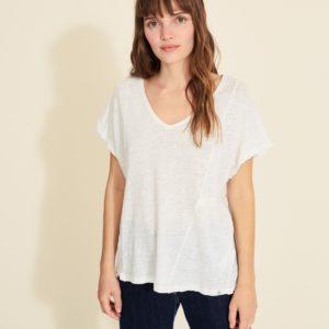 Camiseta lino con puntillas crudo