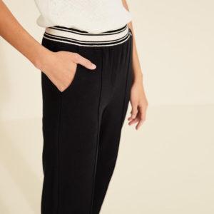 Pantalón felpa texturada negro