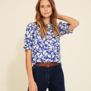 Blusa azul estampado flores