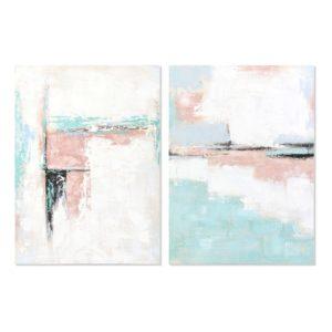 Cuadros lienzo abstracto blanco rosa azul