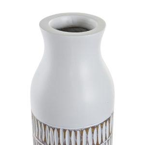 Jarrón resina blanco estriado 2 tamaños