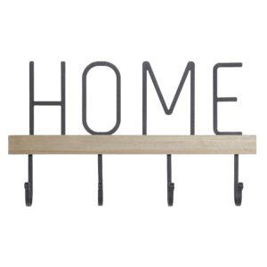Perchero de pared HOME hierro madera