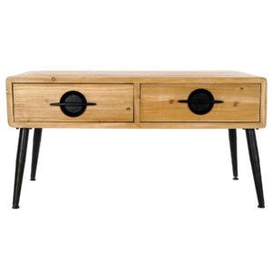 Mesa café madera natural metal