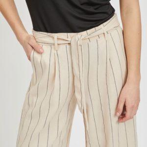 Pantalón cropped rayas lazo cintura