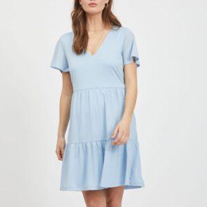 Vestido volantes manga corta azul