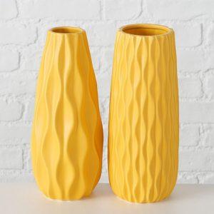 Floreros cerámicos esmaltado amarillo
