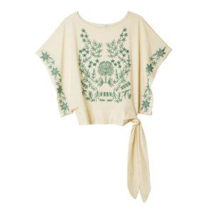 Camiseta lazo bordados manga ancha