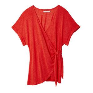 Camiseta cruzada lazo lino rojo
